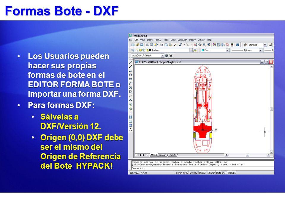 Formas Bote - DXF Los Usuarios pueden hacer sus propias formas de bote en el EDITOR FORMA BOTE o importar una forma DXF.Los Usuarios pueden hacer sus