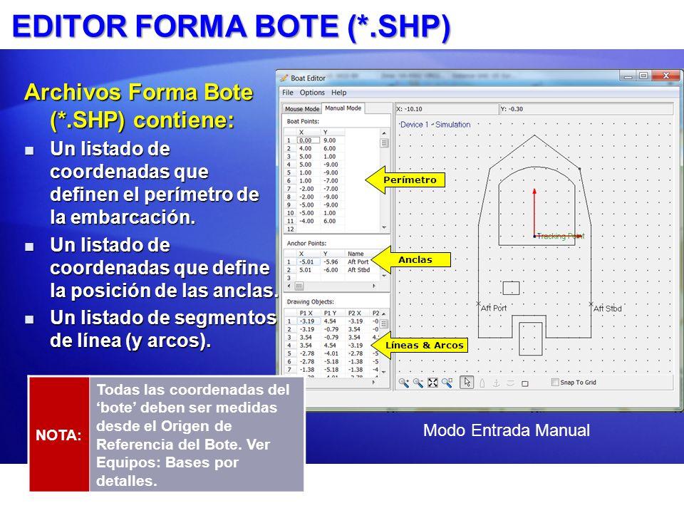 EDITOR FORMA BOTE (*.SHP) NOTA: Todas las coordenadas del bote deben ser medidas desde el Origen de Referencia del Bote. Ver Equipos: Bases por detall