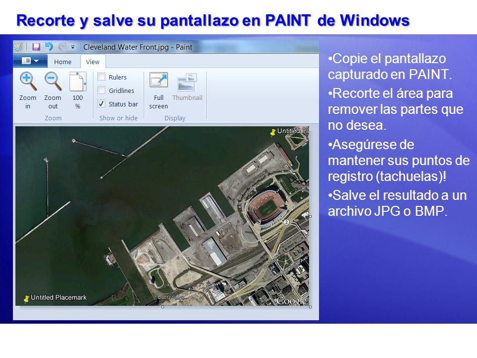 Recorte y salve su pantallazo en PAINT de Windows Copie el pantallazo capturado en PAINT. Recorte el área para remover las partes que no desea. Asegúr