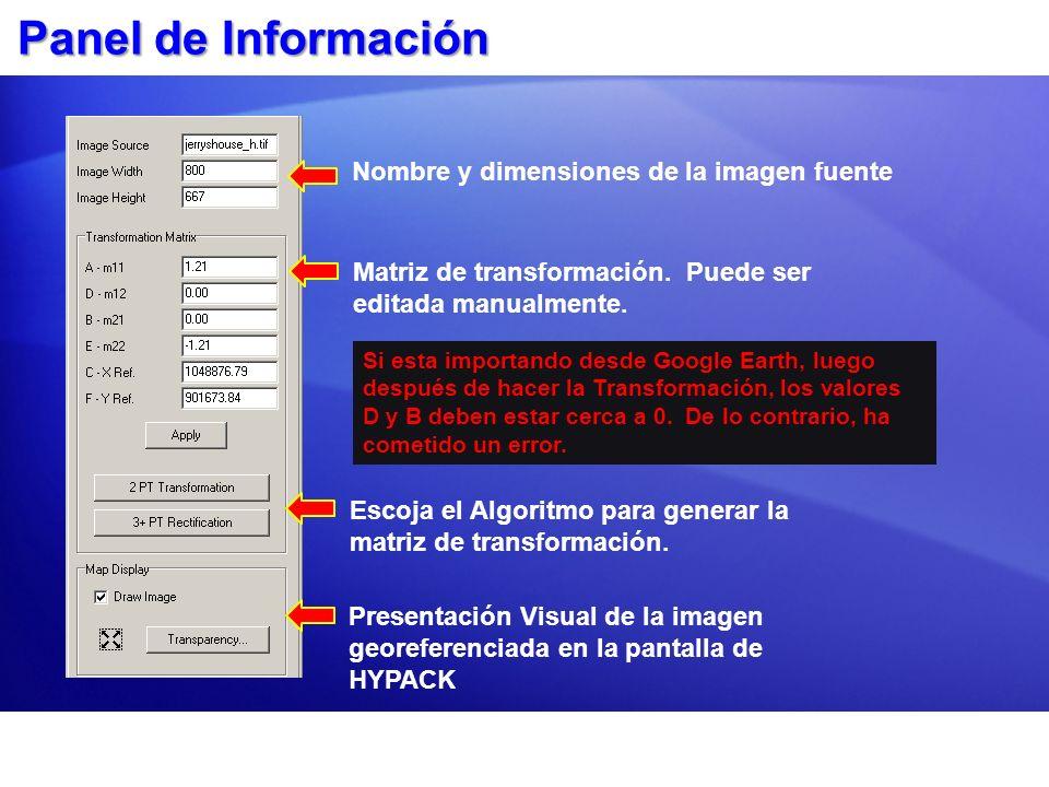 Presentación Visual de la imagen georeferenciada en la pantalla de HYPACK Nombre y dimensiones de la imagen fuente Matriz de transformación. Puede ser