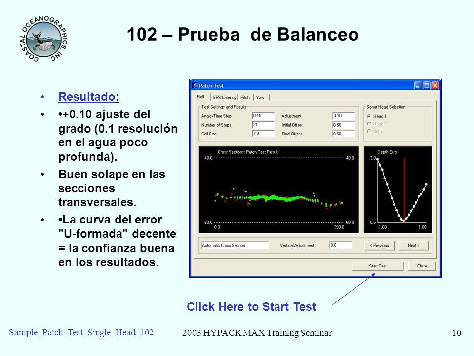 2003 HYPACK MAX Training Seminar10 Sample_Patch_Test_Single_Head_102 102 – Prueba de Balanceo Resultado: +0.10 ajuste del grado (0.1 resolución en el