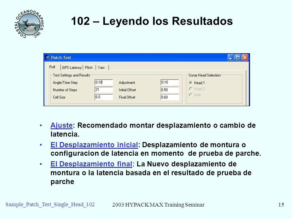 2003 HYPACK MAX Training Seminar15 Sample_Patch_Test_Single_Head_102 102 – Leyendo los Resultados Ajuste: Recomendado montar desplazamiento o cambio d
