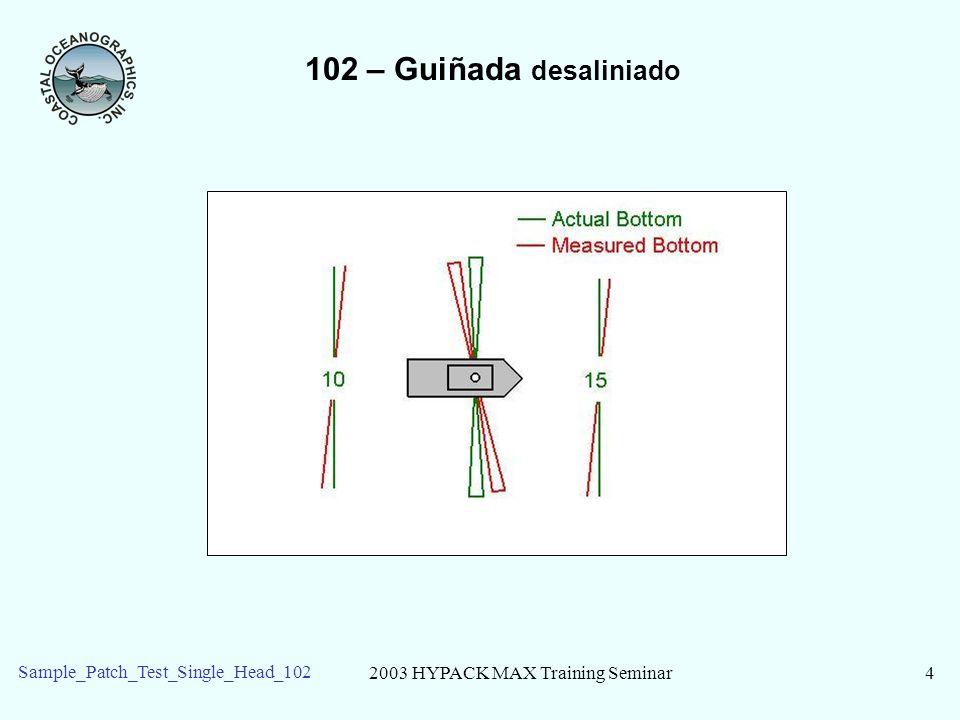 2003 HYPACK MAX Training Seminar15 Sample_Patch_Test_Single_Head_102 102 – Leyendo los Resultados Ajuste: Recomendado montar desplazamiento o cambio de latencia.