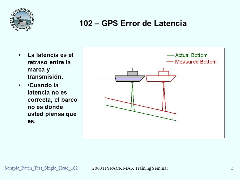 2003 HYPACK MAX Training Seminar6 Sample_Patch_Test_Single_Head_102 102 – Prueba de Parche de una cabeza de Multibeam Dos lineas cortas para cada prueba Cabeceo: Las líneas recíprocas, el fondo con pendiente.