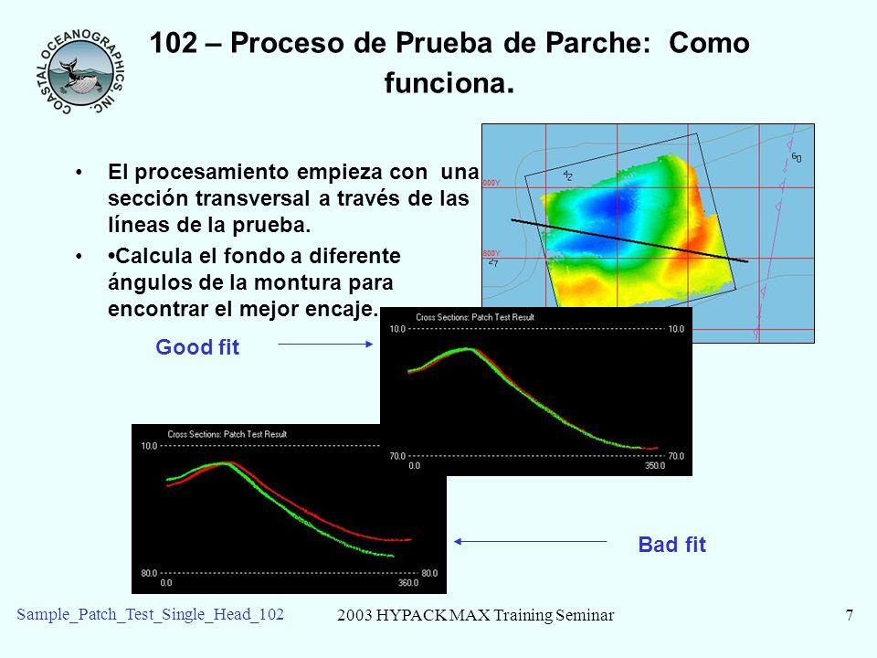 2003 HYPACK MAX Training Seminar8 Sample_Patch_Test_Single_Head_102 102 – Inicie el procesamiento en MBMAX Los archivos de los datos de ejemplo están en el proyecto de Sample_Patch_Test_Single_Head _102.