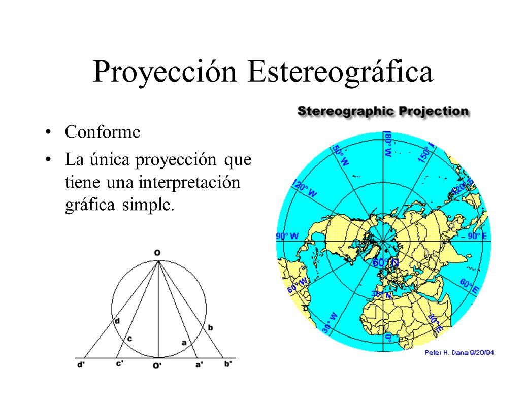 Proyección Estereográfica Conforme La única proyección que tiene una interpretación gráfica simple.