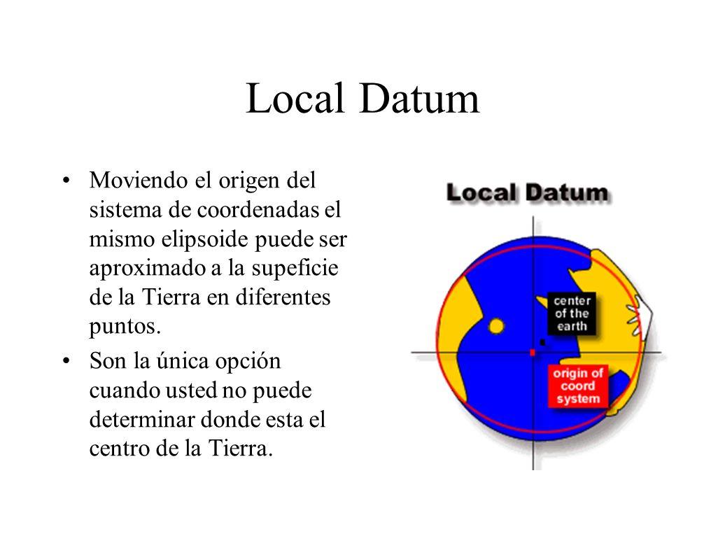 Local Datum Moviendo el origen del sistema de coordenadas el mismo elipsoide puede ser aproximado a la supeficie de la Tierra en diferentes puntos. So