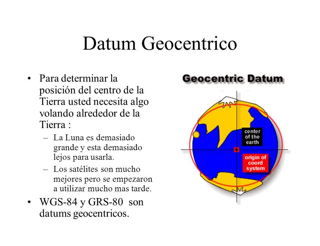 Datum Geocentrico Para determinar la posición del centro de la Tierra usted necesita algo volando alrededor de la Tierra : –La Luna es demasiado grand