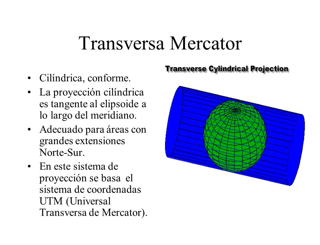 Transversa Mercator Cilíndrica, conforme. La proyección cilíndrica es tangente al elipsoide a lo largo del meridiano. Adecuado para áreas con grandes