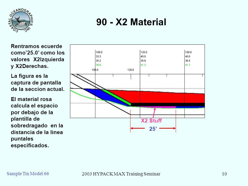 2003 HYPACK MAX Training Seminar10 Sample Tin Model 66 90 - X2 Material 25 X2 Stuff Rentramos ecuerde como25.0 como los valores X2Izquierda y X2Derech