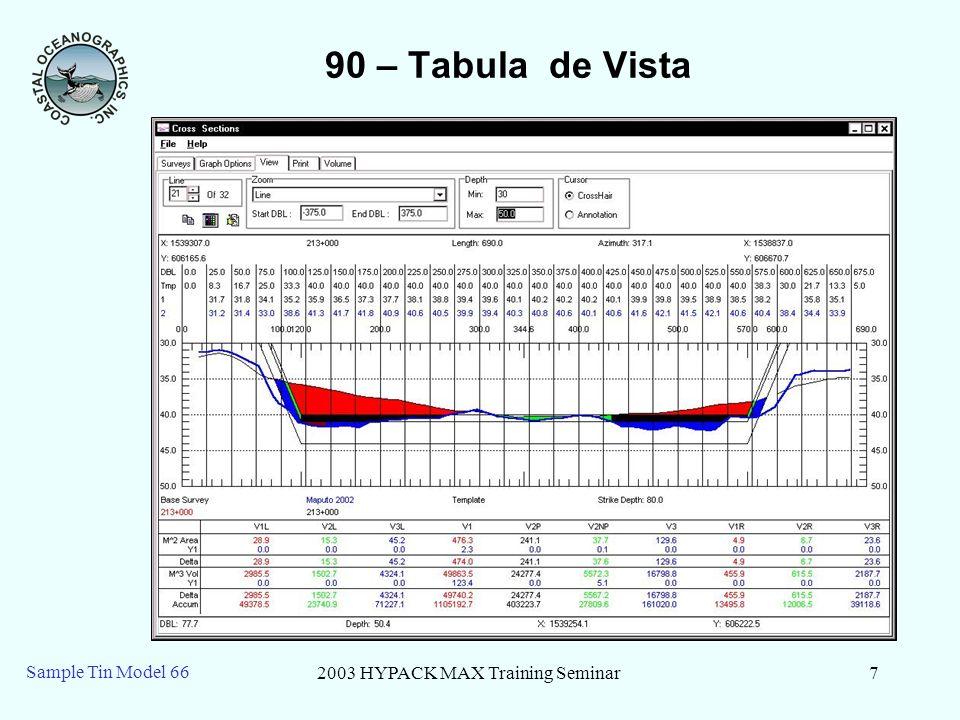 2003 HYPACK MAX Training Seminar7 Sample Tin Model 66 90 – Tabula de Vista