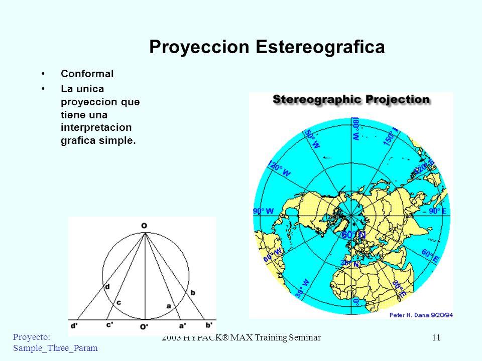 2003 HYPACK® MAX Training Seminar11 Proyecto: Sample_Three_Param Proyeccion Estereografica Conformal La unica proyeccion que tiene una interpretacion