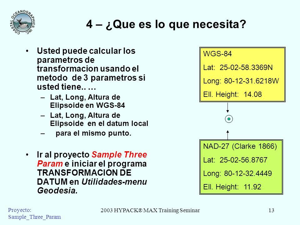 2003 HYPACK® MAX Training Seminar13 Proyecto: Sample_Three_Param 4 – ¿Que es lo que necesita? Usted puede calcular los parametros de transformacion us