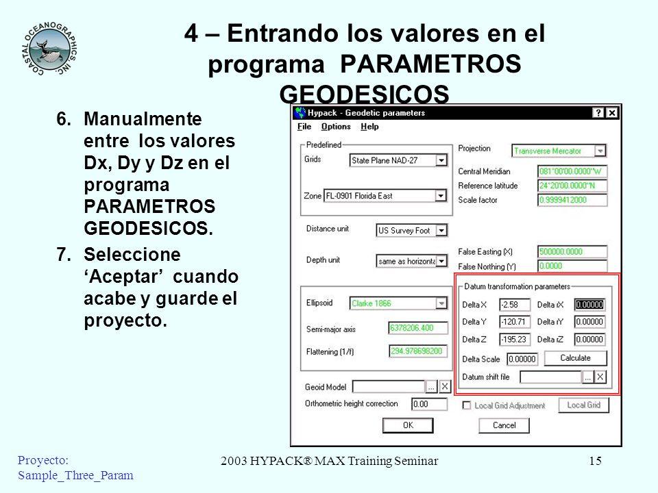 2003 HYPACK® MAX Training Seminar15 Proyecto: Sample_Three_Param 4 – Entrando los valores en el programa PARAMETROS GEODESICOS 6.Manualmente entre los