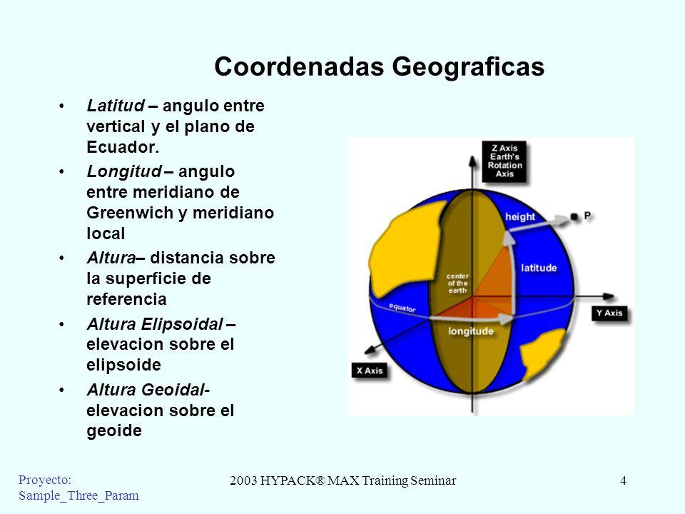 2003 HYPACK® MAX Training Seminar4 Proyecto: Sample_Three_Param Coordenadas Geograficas Latitud – angulo entre vertical y el plano de Ecuador. Longitu