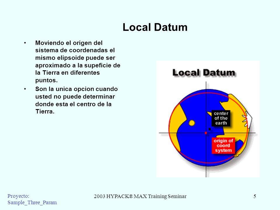 2003 HYPACK® MAX Training Seminar5 Proyecto: Sample_Three_Param Local Datum Moviendo el origen del sistema de coordenadas el mismo elipsoide puede ser