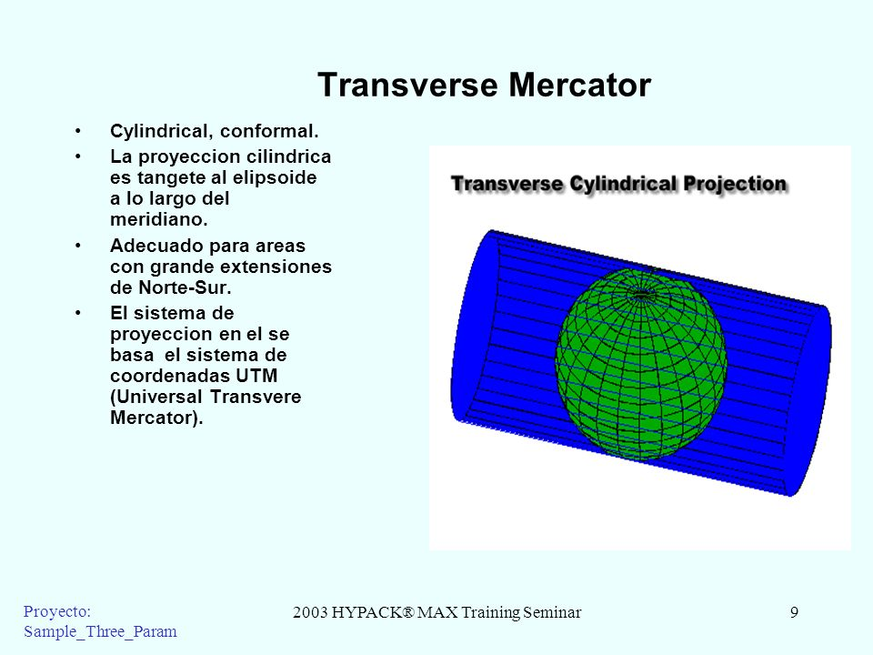 2003 HYPACK® MAX Training Seminar9 Proyecto: Sample_Three_Param Transverse Mercator Cylindrical, conformal. La proyeccion cilindrica es tangete al eli