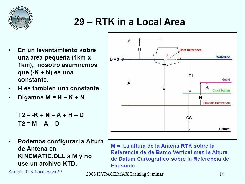 2003 HYPACK MAX Training Seminar10 Sample RTK Local Area 29 29 – RTK in a Local Area En un levantamiento sobre una area pequeña (1km x 1km), nosotro a