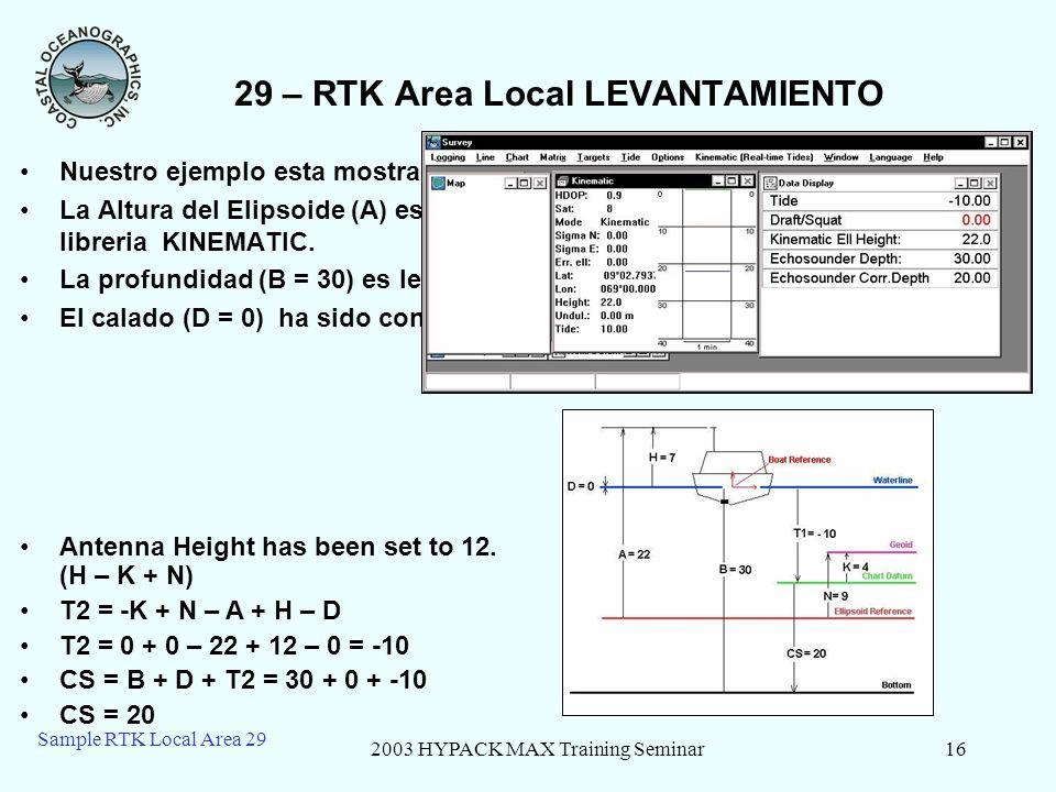2003 HYPACK MAX Training Seminar16 Sample RTK Local Area 29 29 – RTK Area Local LEVANTAMIENTO Nuestro ejemplo esta mostrado en la parte inferior derec