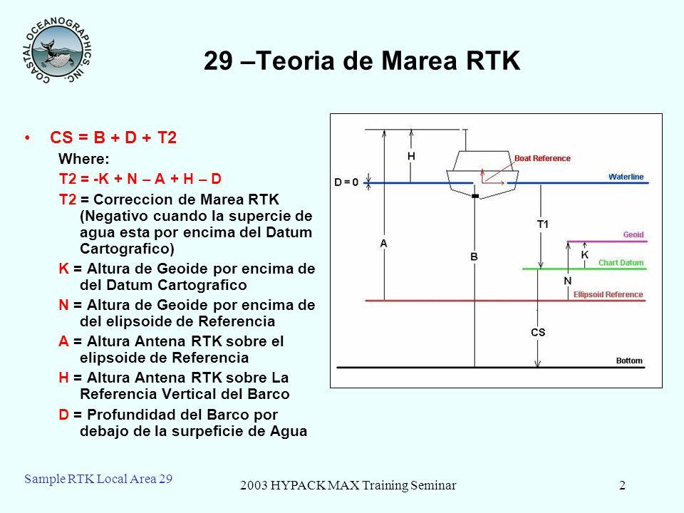 2003 HYPACK MAX Training Seminar3 Sample RTK Local Area 29 29 -RTK – Algunos Ejemplos Levantamiento ConvencionalMareas RTK T1 = -10T2 = -K + N – A + H – D T2 = -4 + 9 – 22 + 7 – 0 = -10 CS = B + D + T1 = 30 + 0 + (-10) = 20CS = B + D + T2 = 30 + 0 + (-10) = 20
