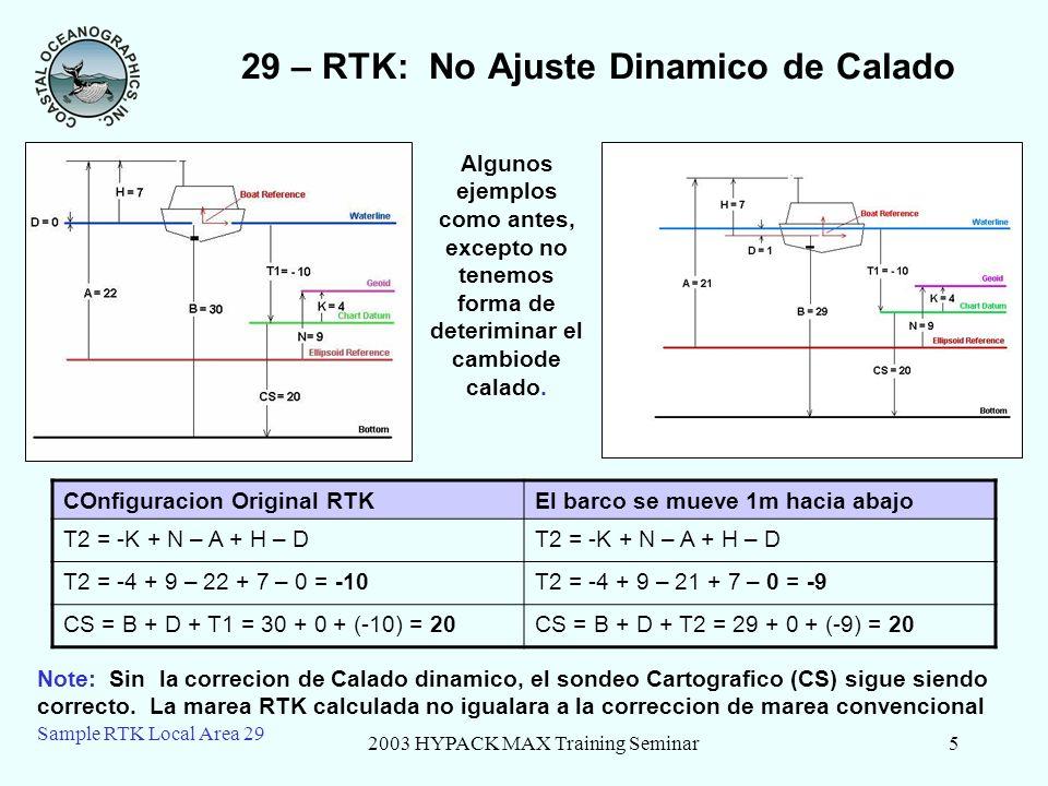 2003 HYPACK MAX Training Seminar6 Sample RTK Local Area 29 29 – RTK: La Marea Sube El barco se mueve 1m hacia abajoLa Marea sube 5 metros T2 = -K + N – A + H – D T2 = -4 + 9 – 21 + 7 – 1 = -10T2 = -4 + 9 – 26 + 7 – 1 = -15 CS = B + D + T2 = 29 + 1 + (-10) = 20CS = B + D + T2 = 34 + 1 + (-15) = 20