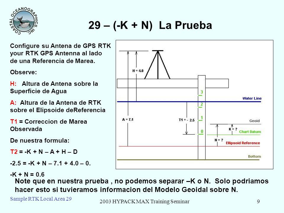 2003 HYPACK MAX Training Seminar10 Sample RTK Local Area 29 29 – RTK in a Local Area En un levantamiento sobre una area pequeña (1km x 1km), nosotro asumiremos que (-K + N) es una constante.