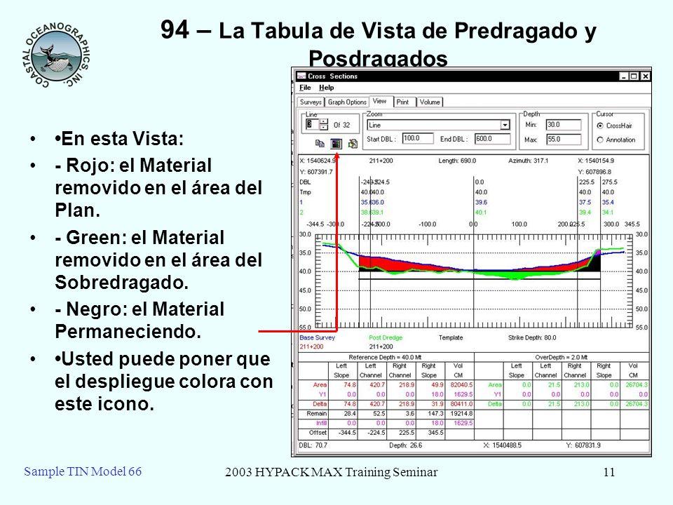 2003 HYPACK MAX Training Seminar11 Sample TIN Model 66 94 – La Tabula de Vista de Predragado y Posdragados En esta Vista: - Rojo: el Material removido en el área del Plan.