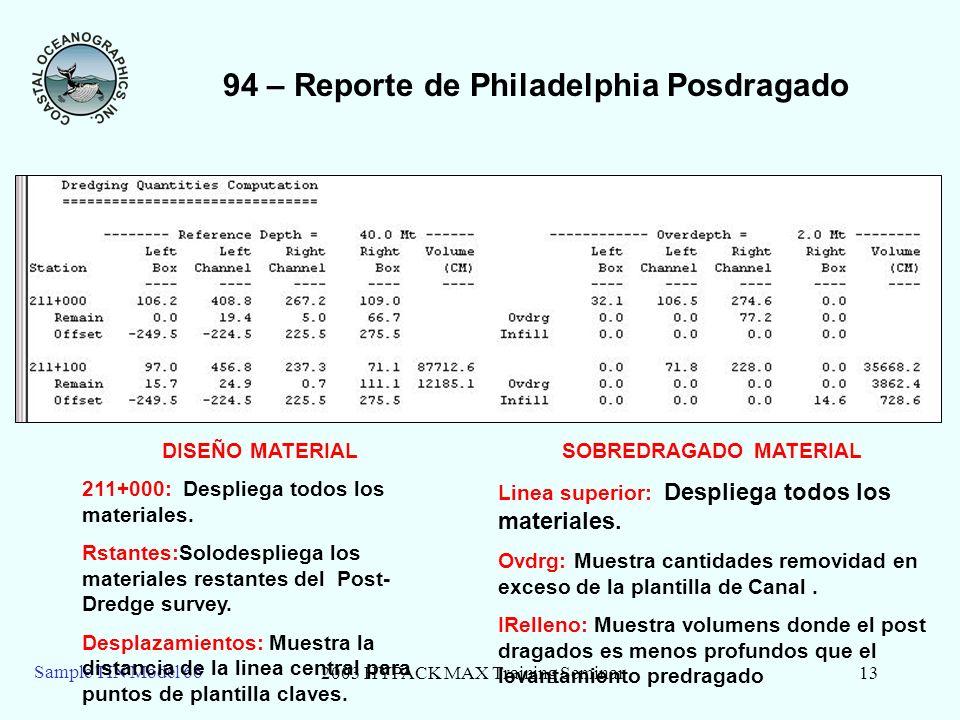 2003 HYPACK MAX Training Seminar13 Sample TIN Model 66 94 – Reporte de Philadelphia Posdragado SOBREDRAGADO MATERIAL Linea superior: Despliega todos los materiales.