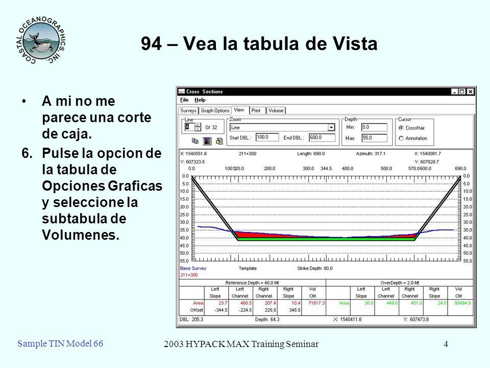 2003 HYPACK MAX Training Seminar4 Sample TIN Model 66 94 – Vea la tabula de Vista A mi no me parece una corte de caja.