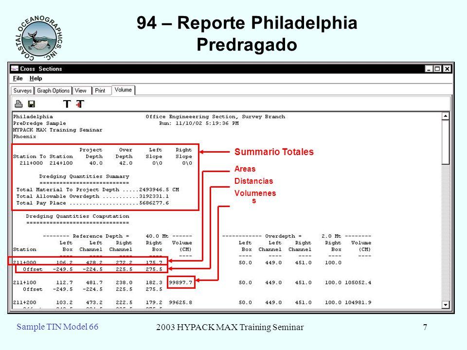 2003 HYPACK MAX Training Seminar7 Sample TIN Model 66 94 – Reporte Philadelphia Predragado Summario Totales Areas Distancias Volumenes s