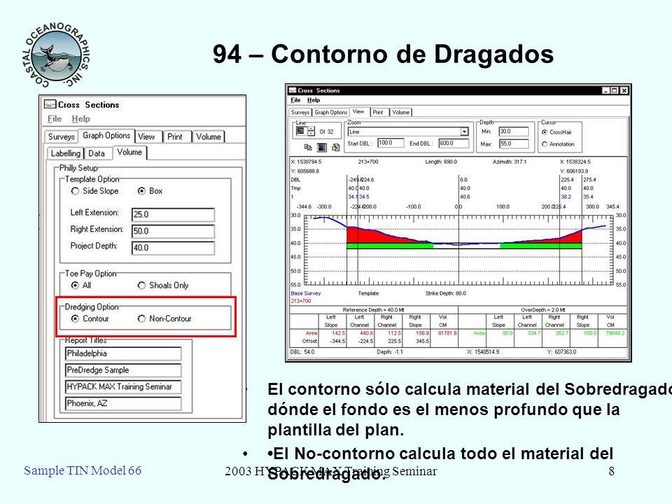 2003 HYPACK MAX Training Seminar8 Sample TIN Model 66 94 – Contorno de Dragados El contorno sólo calcula material del Sobredragado dónde el fondo es el menos profundo que la plantilla del plan.