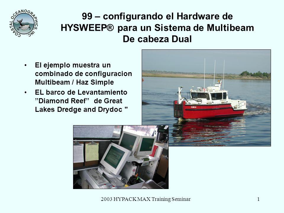 2003 HYPACK MAX Training Seminar1 99 – configurando el Hardware de HYSWEEP® para un Sistema de Multibeam De cabeza Dual El ejemplo muestra un combinado de configuracion Multibeam / Haz Simple EL barco de Levantamiento Diamond Reef de Great Lakes Dredge and Drydoc