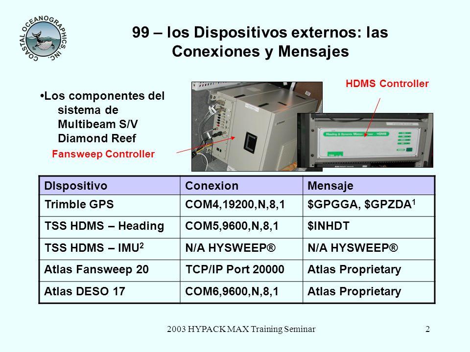 2003 HYPACK MAX Training Seminar2 99 – los Dispositivos externos: las Conexiones y Mensajes Los componentes del sistema de Multibeam S/V Diamond Reef DIspositivoConexionMensaje Trimble GPSCOM4,19200,N,8,1$GPGGA, $GPZDA 1 TSS HDMS – HeadingCOM5,9600,N,8,1$INHDT TSS HDMS – IMU 2 N/A HYSWEEP® Atlas Fansweep 20TCP/IP Port 20000Atlas Proprietary Atlas DESO 17COM6,9600,N,8,1Atlas Proprietary Fansweep Controller HDMS Controller