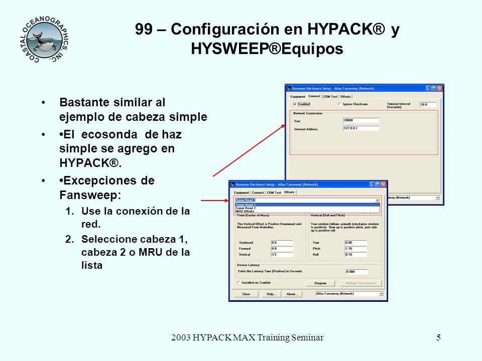 2003 HYPACK MAX Training Seminar5 99 – Configuración en HYPACK® y HYSWEEP®Equipos Bastante similar al ejemplo de cabeza simple El ecosonda de haz simple se agrego en HYPACK®.