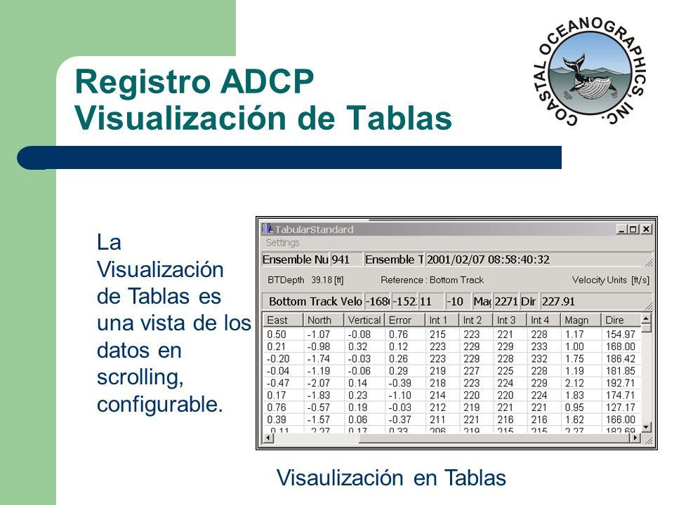 Registro ADCP Visualización de Tablas La Visualización de Tablas es una vista de los datos en scrolling, configurable. Visaulización en Tablas