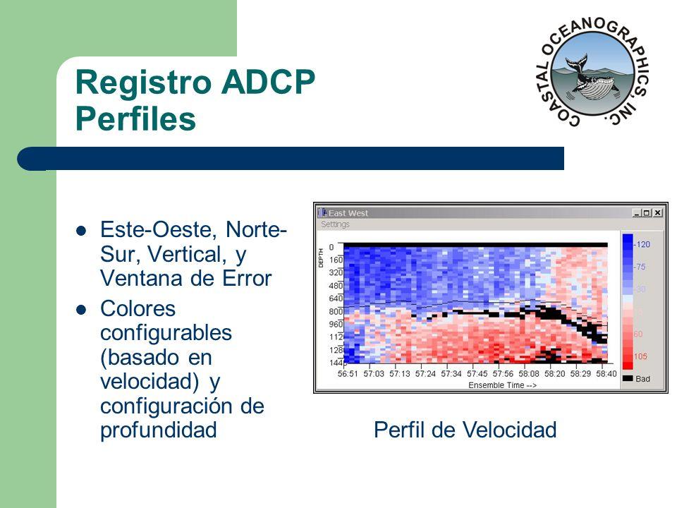 Registro ADCP Perfiles Este-Oeste, Norte- Sur, Vertical, y Ventana de Error Colores configurables (basado en velocidad) y configuración de profundidad