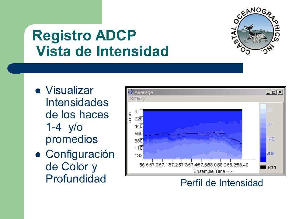 Registro ADCP Vista de Intensidad Visualizar Intensidades de los haces 1-4 y/o promedios Configuración de Color y Profundidad Perfil de Intensidad