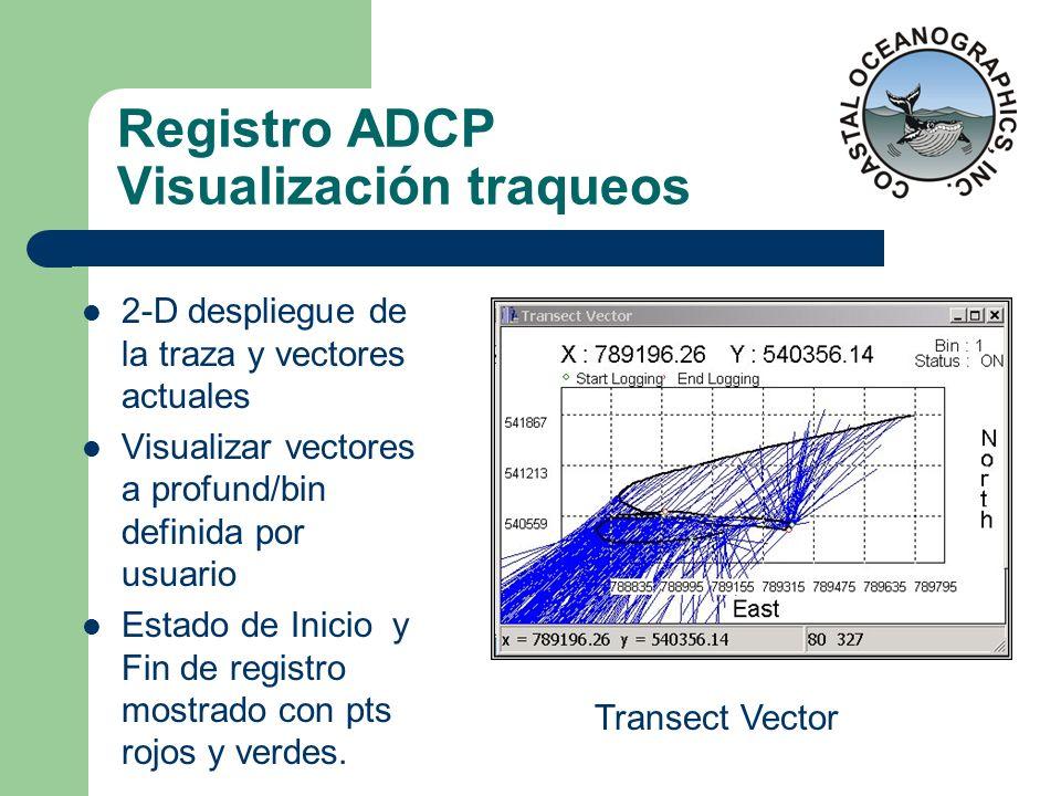 Registro ADCP Visualización traqueos 2-D despliegue de la traza y vectores actuales Visualizar vectores a profund/bin definida por usuario Estado de I