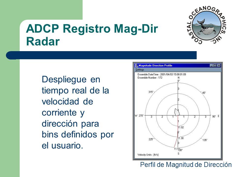 ADCP Registro Mag-Dir Radar Perfil de Magnitud de Dirección Despliegue en tiempo real de la velocidad de corriente y dirección para bins definidos por