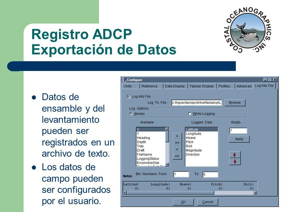 Registro ADCP Exportación de Datos Datos de ensamble y del levantamiento pueden ser registrados en un archivo de texto. Los datos de campo pueden ser