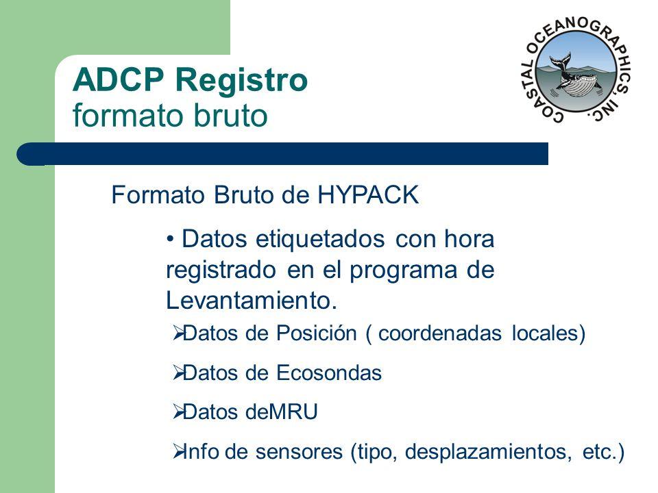ADCP Registro formato bruto Formato Bruto de HYPACK Datos etiquetados con hora registrado en el programa de Levantamiento. Datos de Posición ( coorden