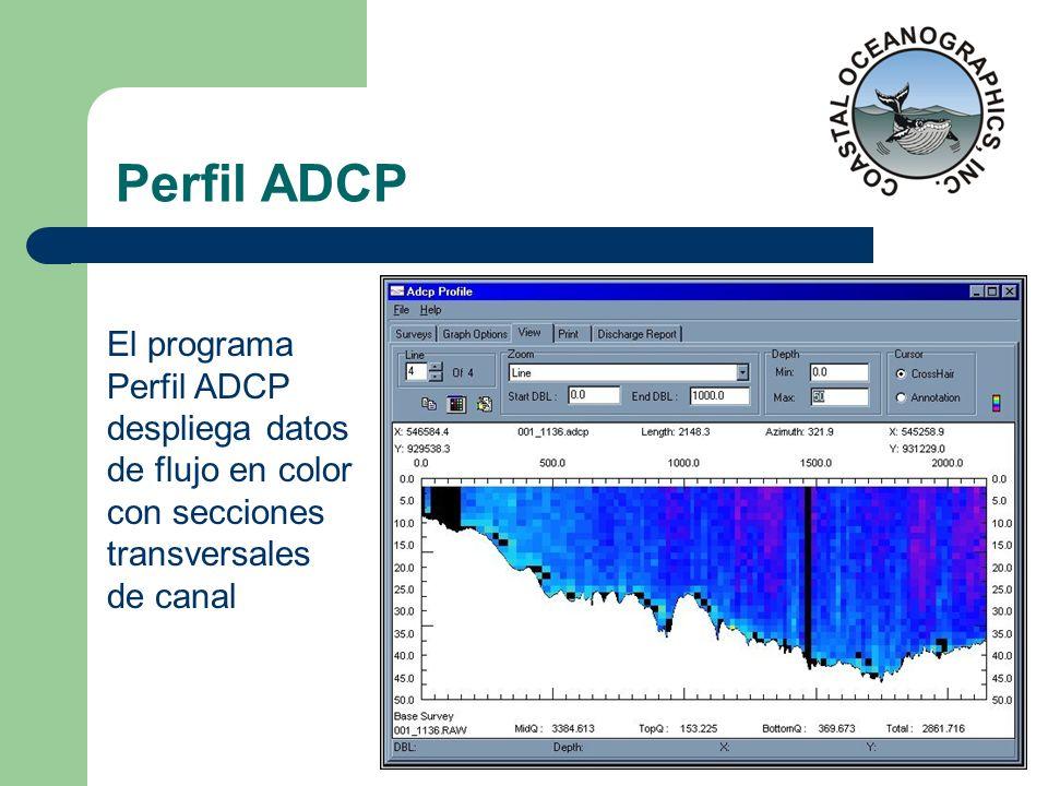 Perfil ADCP El programa Perfil ADCP despliega datos de flujo en color con secciones transversales de canal