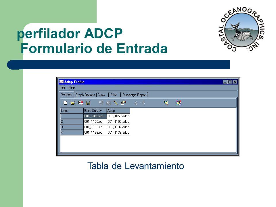 perfilador ADCP Formulario de Entrada Tabla de Levantamiento