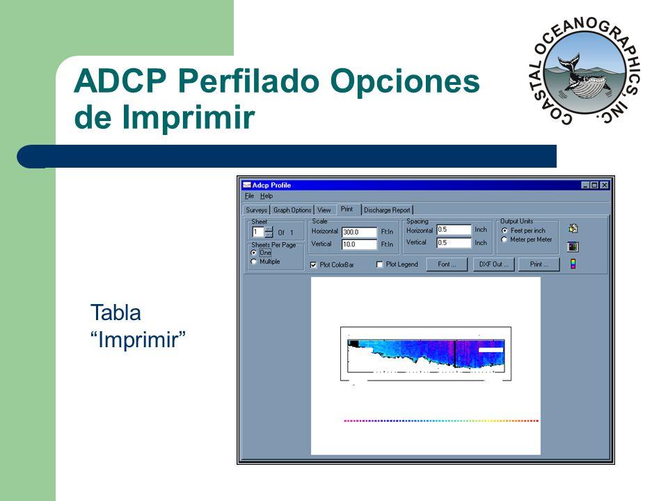 ADCP Perfilado Opciones de Imprimir Tabla Imprimir