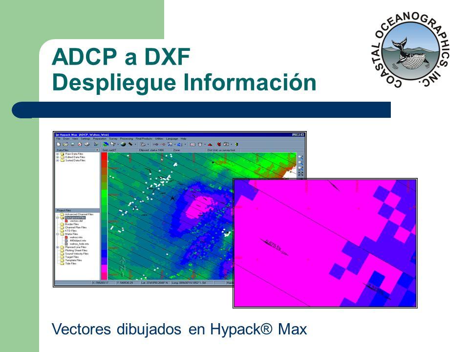 ADCP a DXF Despliegue Información Vectores dibujados en Hypack® Max
