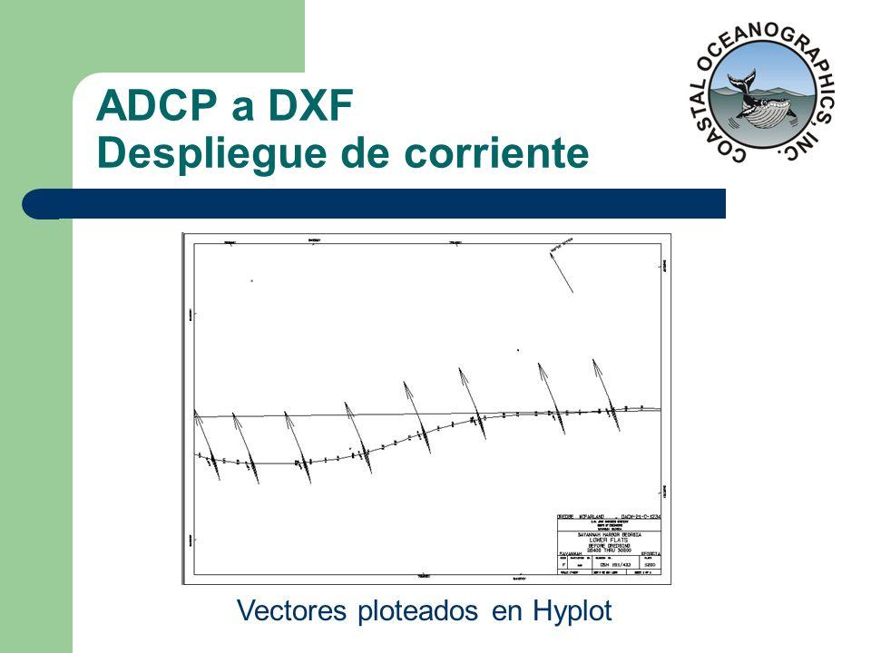 ADCP a DXF Despliegue de corriente Vectores ploteados en Hyplot