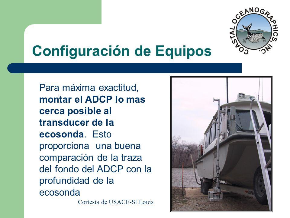 Configuración de Equipos Para máxima exactitud, montar el ADCP lo mas cerca posible al transducer de la ecosonda. Esto proporciona una buena comparaci