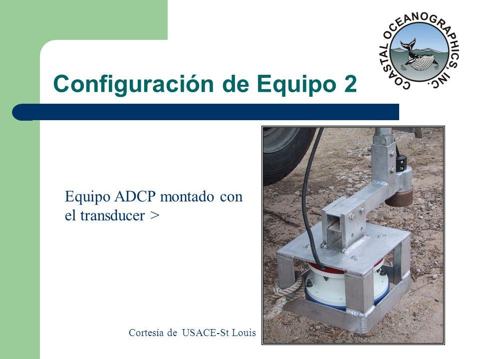 Configuración de Equipo 2 Equipo ADCP montado con el transducer > Cortesía de USACE-St Louis