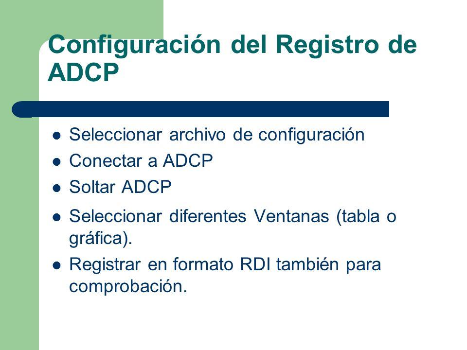 Configuración del Registro de ADCP Seleccionar archivo de configuración Conectar a ADCP Soltar ADCP Seleccionar diferentes Ventanas (tabla o gráfica).