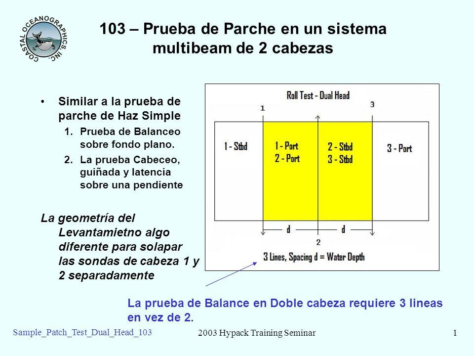 2003 Hypack Training Seminar1 Sample_Patch_Test_Dual_Head_103 103 – Prueba de Parche en un sistema multibeam de 2 cabezas Similar a la prueba de parche de Haz Simple 1.Prueba de Balanceo sobre fondo plano.